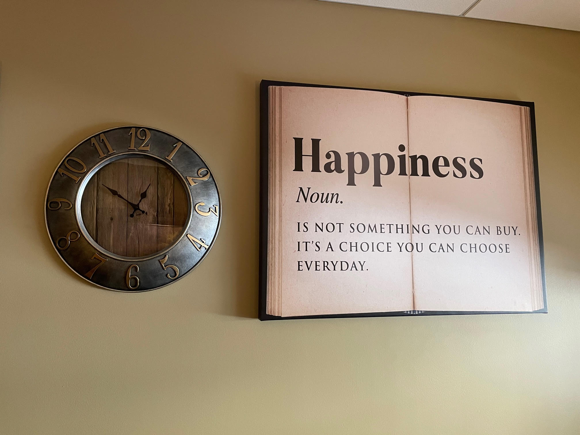A sign that hangs in therapist Tino Silva's office
